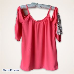 Pink Cold Shoulder Top with Lace Accents on Sleeve